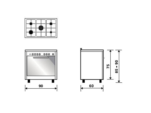 Glem 90cm Gas/Electric Cooker EI9612VI technical specifications