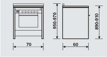 Eurogas 70cm Gas/Electric Cooker UN7612WI technical specifications