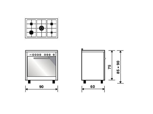 Meireles 90cm Gas/Electric Cooker EV8 90 SP 2N technical specifications