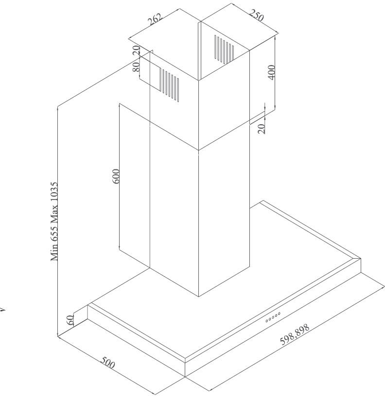 Meireles 90cm Extractor Hood Powder Blue MEP 291 PB technical specifications