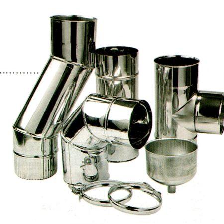 TEN flue pipes: Matt Black and Stainless Steel.